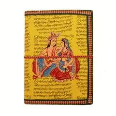 Purpledip Handmade Paper Journal Radha-Krishna: Vintage Diary Notebook With Thread Closure (11157)