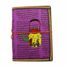 Purpledip Handmade Paper Journal 'My Hot Cuppa': Vintage Diary Notebook With Thread Closure (11159)