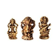 Purpledip Rare Miniature Statue Set Lakshmi-Ganesha-Saraswati: Unique Collectible Gift (11177)
