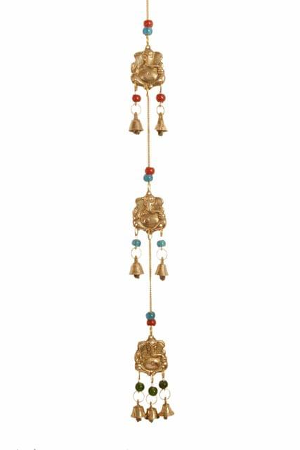 Purpledip Wind Chime With Ganesha & Bells: Unique Wall Decor For Good Luck & Positive Energy (11179)