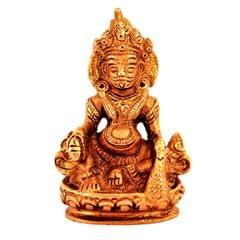 Purpledip Brass Statue Kubera (Hindu God Of Wealth & Prosperity): Kuber Vaisravana Sarvanubhuti Idol In Pure Metal; Regious Indian Home Temple Decor (11185)
