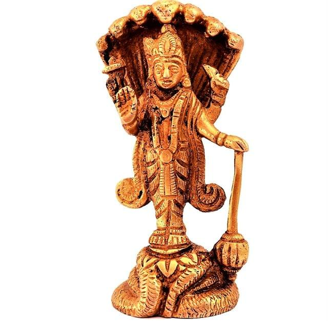 Purpledip Brass Statue Lord Vishnu: Hindu God Idol Sculpture Home Temple Decor Gift (11189)