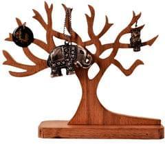 Purpledip Wooden Jewellery Stand Earring Chain Tree Jewelry Organizer Tray (11196)