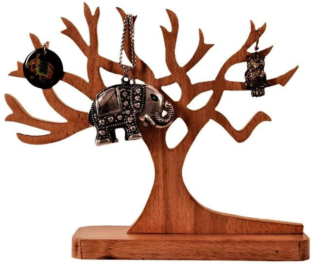 Purpledip Wooden Jewellery Stand Earring Chain Tree Jewelry Organizer Tray (11196)
