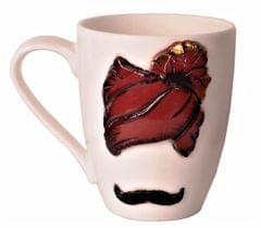 Purpledip Designer Ceramic Coffee Mug 'Pagdi N Moochadi'; Indian Memorabilia Souvenir (11197)