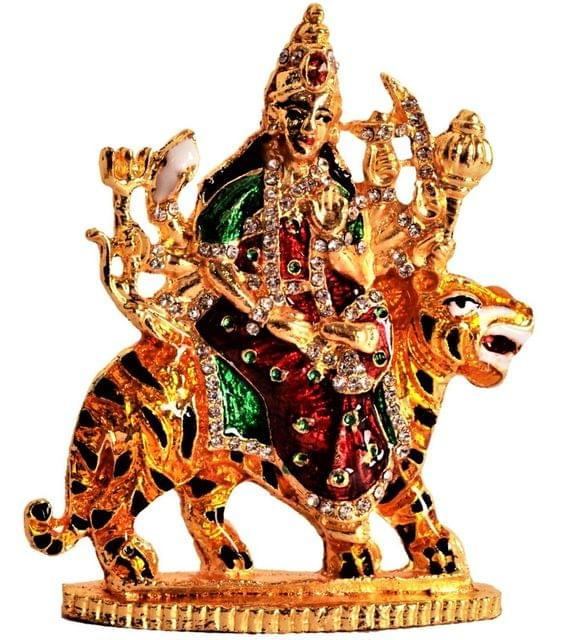 Purpledip Metal Statue Sherawali Mata Durga Ma For Car Dashboard, Home Temple, Office Table, Shop Counter (11198)
