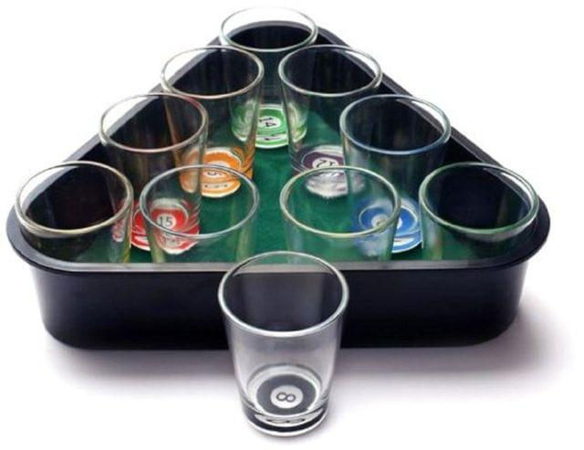 Shot Glasses In Billiards Pool Tray: Set of 10 For Serving Tequilla Vodka Shots (11202)