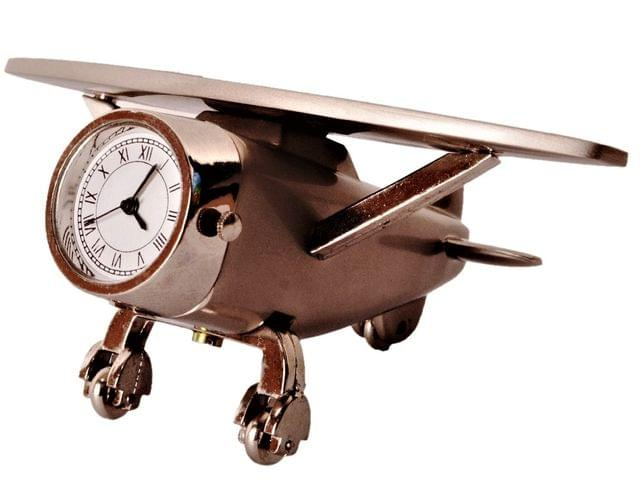 Purpledip Table Clock 'Time-To-Fly': Aeroplane Design Small Timepiece For Home, Office Car Dashboard Or Kids Room (11204)