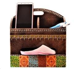 Purpledip Wooden Desk Organizer: For Mobile Phone, Pens, TV Remote, Cards, Tissues; Handmade Home Office Table Decor (11205)