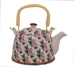 Purpledip Beautifully Painted Ceramic Kettle Tea Coffee Pot 500 ml With Steel Strainer (11219)
