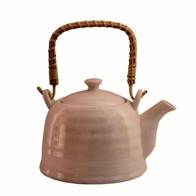 Purpledip Ceramic White Kettle Tea Coffee Pot, 1000 ml, With Steel Strainer (11225)
