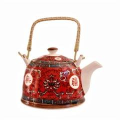 Purpledip Beautifully Painted Red Ceramic Kettle Tea Coffee Pot, 1000 ml, With Steel Strainer (11226)