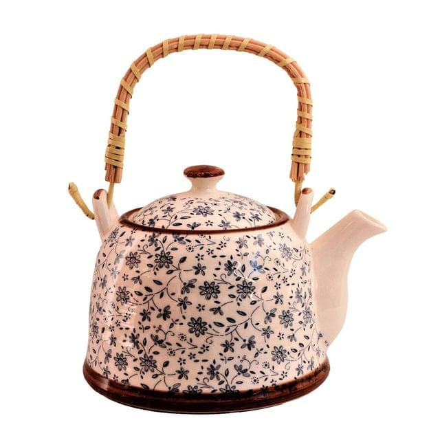 Purpledip Beautifully Painted Ceramic Kettle Tea Coffee Pot, 1000 ml, With Steel Strainer (11227)