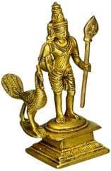 Purpledip Brass Statue Lord Murugan Karthikeya: Skanda, Kumara, Subrahmanya Idol (11229)
