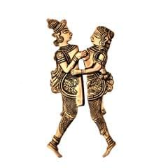 Purpledip Rare Collection Brass Nut Cracker Sarota 'Khajurao': Eternal Love Story Of Radha-Krishna (11231)