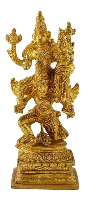 Purpledip Rare Collection Brass Idol Garuda, Vishnu Vahana Varadaraja Perumal (11233)