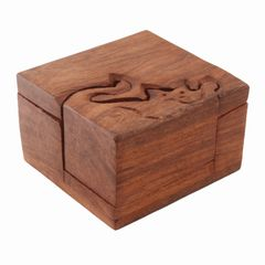 Purpledip Wooden Puzzle Box 'Cutie Cat': Handmade Mystery Keepsake Magic Game Gift (11234)