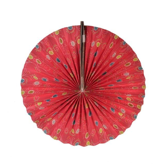 Purpledip Round Japanese Fan Styled: Handmade Hanging Paper Lantern For New Year, Festival, Birthday Party Decoration, 25 cms (chst08)