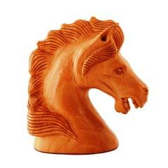 Purpledip Wooden Carved Horse Bust; Miniature Idol for Table Tops, Showpiece, Indian Gift (11259)