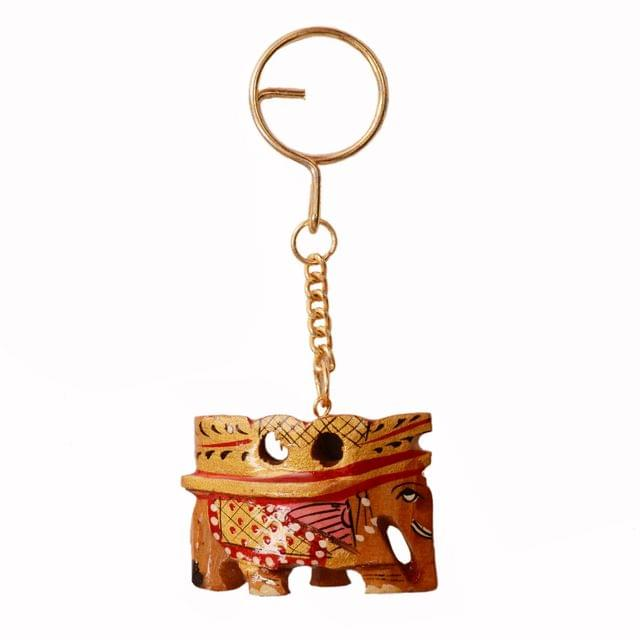 Purpledip Key Chain/Ring/Hook 'Royal Elephant': Sculpted In Kadam Wood with Fine Gold Painting, Unique Indian Gift Idea (11264)