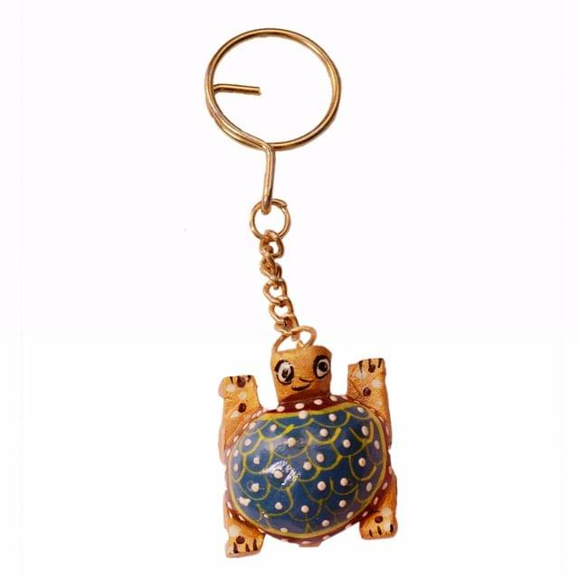 Purpledip Key Chain/Ring/Hook 'Lucky Tortoise': Sculpted In Kadam Wood with Fine Gold Painting, Unique Indian Gift Idea (11265)