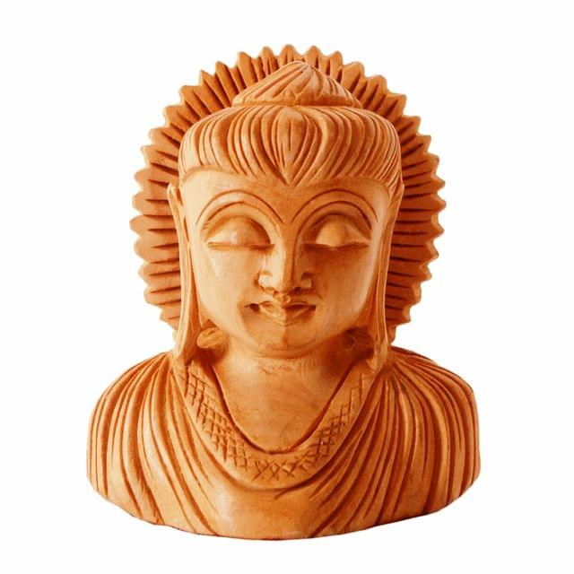 Purpledip Wooden Buddha Bust With Chakra: Finely Carved By Master Craftsmen (11251)