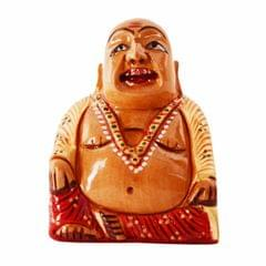 Purpledip Wooden Idol Laughing Buddha With Fine Gold Painting: Harbinger Of Wisdom & Wealth - Home Decor Showpiece Gift Vastu Feng-Shui Good Luch Charm (11252)