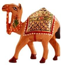 Purpledip Wooden Camel With Beautiful Fine Gold Painting; Miniature Idol Gift (11257)