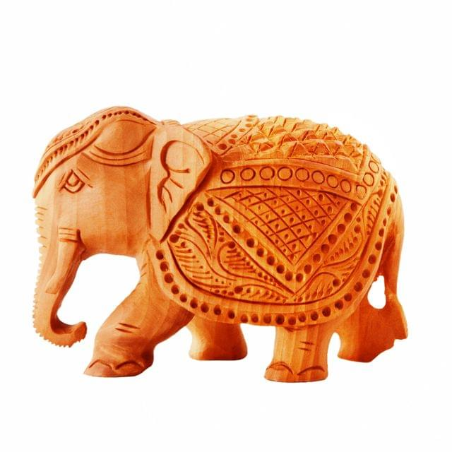 Purpledip Wooden Carved Elephant; Miniature Idol for Table Tops, Showpiece, Indian Gift (11260)