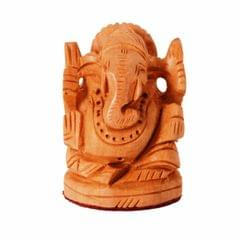 Purpledip Small Wooden Idol Lord Ganesha (Ganapathi, Ganesh) For Table Top, Home Temple, Car Dashboard; Fine Hand-carved Kadam Wood Statue (11261)