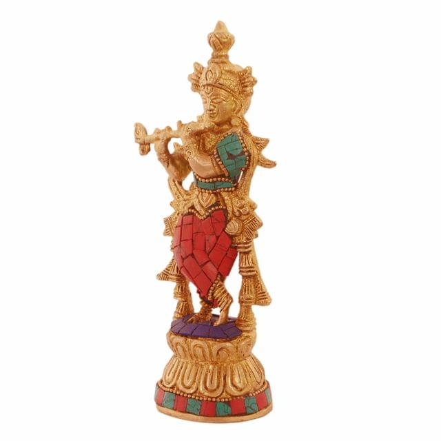 Purpledi Krishna Brass Metal Statue Idol With Gemstones For Home Temple, Office Table or Shop Mandir Puja Shelf | Hindu Religious Gift (11236)