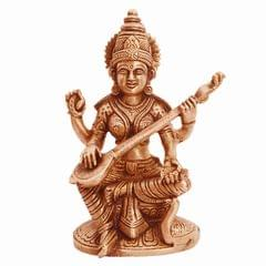 Purpledip Brass Statue Saraswati (Saraswathi): Hindu Goddess Of Knowledge, Saraswati Idol Music & Art; Decor Gift (11237)