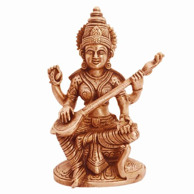 Purpledip Brass Statue Saraswati (Saraswathi): Hindu Goddess Of Knowledge, Saraswati Idol Music & Art; Decor Gift (11237)
