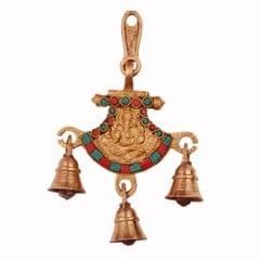 Purpledip Hindu Religious God Wall / Door Hanging of Lord Ganesha (Ganapathi or Vinayaka) in Solid Brass Metal with Turquoise Gem-stone Work (11243)