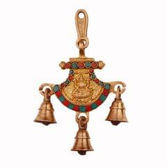 Purpledip Hindu Religious God Wall / Door Hanging of Goddess Lakshmi (Laxmi) in Solid Brass Metal with Turquoise Gem-stone Work (11244)