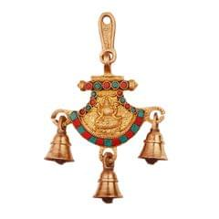 Goddess Lakshmi (Laxmi) Wall / Door Hanging in Solid Brass Metal with Turquoise Gem-stone Work (11244)