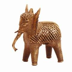 Purpledip Dhokra Art Elephant Metal Statue With Feng Shui Vastu Significance; Unique Gift Showpiece (11246)