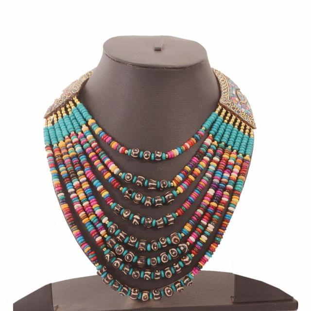 Purpledip Beads Necklace 'Cleopatra': Multistrand Colorful Rani Haar With Brass Locket (30124)