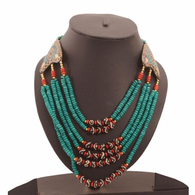 Purpledip Fashion Necklace 'Serenity': Multistrand Green Rani Haar With Colorful Beads & Brass Locket (30126)