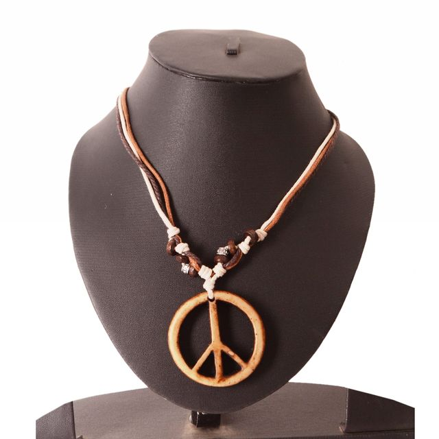 Purpledip Necklace Chain 'Peace': Unique Pendant With Adjustable Cotton Cord | Cool, Funky Fashion Accessory  (30133)