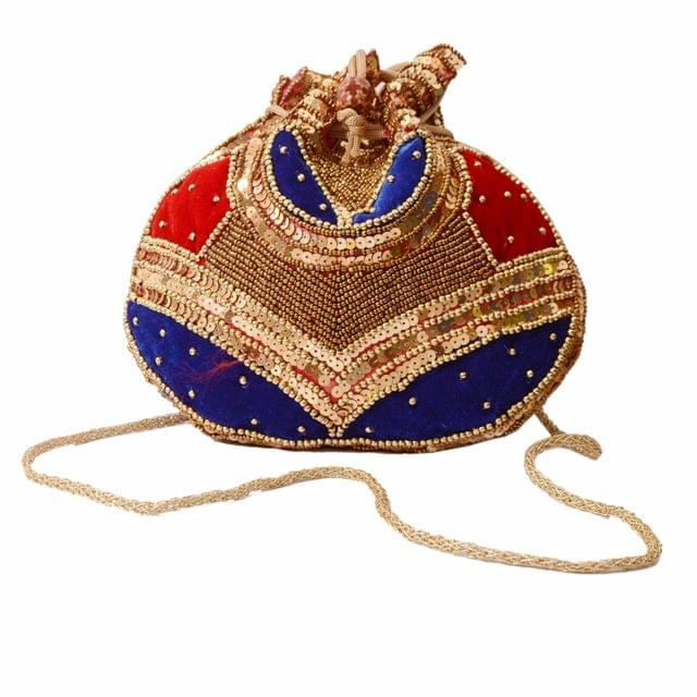 Potli Bag (Clutch, Drawstring Purse) For Women With Intricate Gold Thread & Sequin Embroidery Work (Multicolor,11266)