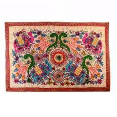 "Finely Embriodered Indian vintage Small Tapestry Table Cover Wall Hanging Cotton Wall Decor ""Jungle Jambooree"" (11271)"