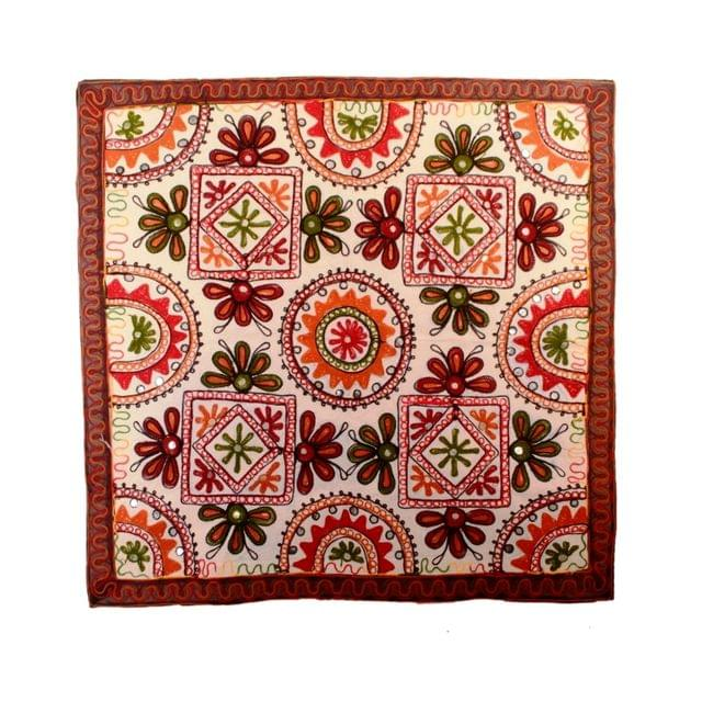 "Finely Embriodered Indian vintage Small Tapestry Table Runner Wall Hanging Cotton Wall Decor ""Floral Delight"" (11273)"