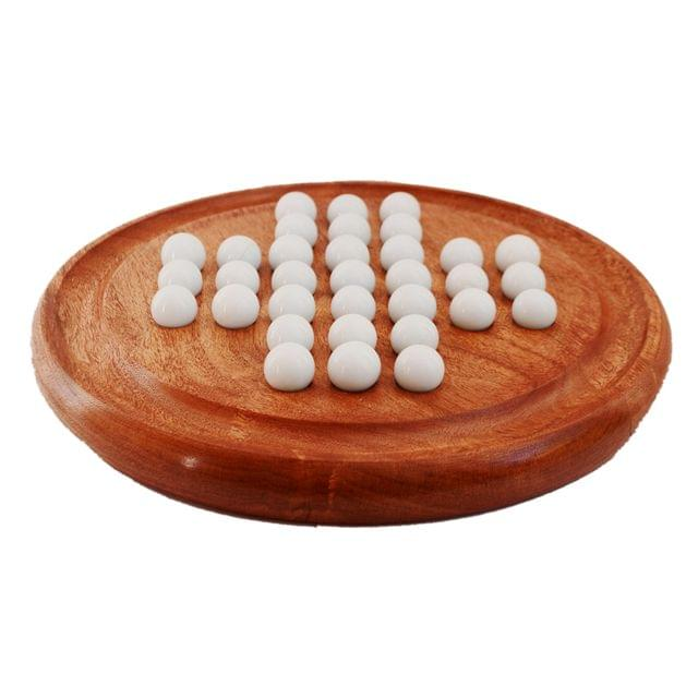 Wooden Solitaire Game Board With Resin Marbles: Unique Gift For Kids Or Adults (11282)