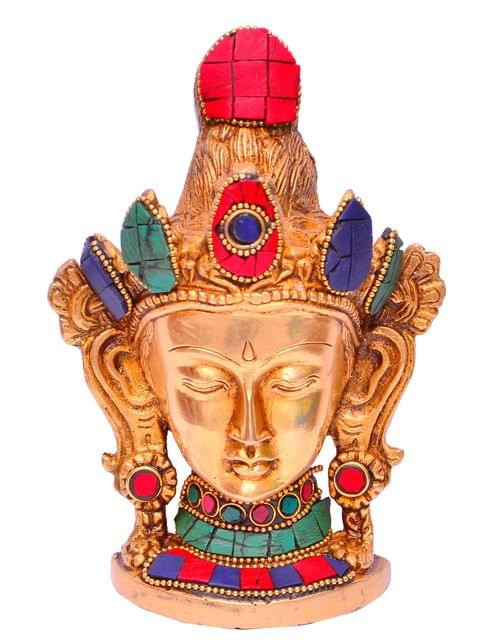 Brass Idol Buddhist Goddess Tara: Table Top Decor Figurine With Gemstones; Collectible Gift (11287)