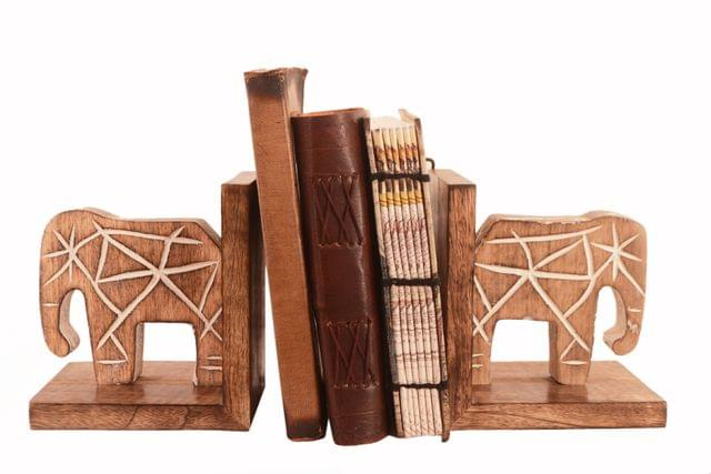 Wooden Bookends Stand Holder Bookshelf Organizer 'Mighty Elephants': Unique Decor Gift For Book Lovers (11293)