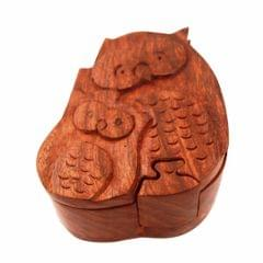 Wooden Puzzle Box 'Mamma Owl - Baby Owl': Handmade Mystery Keepsake Magic Game Gift (11294)