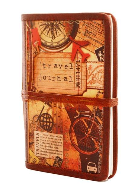 Purpledip Vintage Travel Journal (Pocket Diary) 'Now Or Never': Handmade Paper Encased In Digital Printed Leather Lined Hard Cover With Unique String Closure; Perfect Gift (11303)