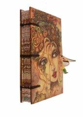 Purpledip Vintage Journal (Diary Notebook) 'The Enchantress': Handmade Paper Encased In Digital Print Hard Cover With Unique Beaded String Closure; Perfect Gift (11307)