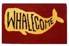 Purpledip Handwoven Doormat 'Whalecome': Thick, Soft, Non-skid Floor Carpet Rug (11309b)